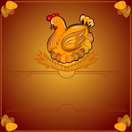 easter chicken hen wiith egg brown background Vector