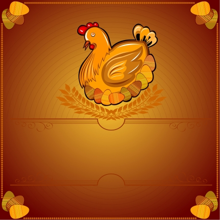 easter chicken hen wiith egg brown background
