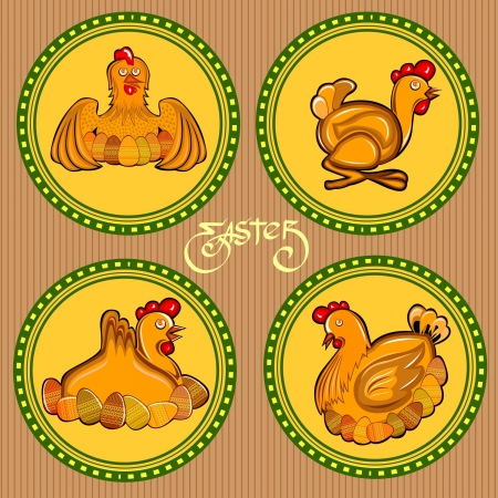 easter circle chicken label