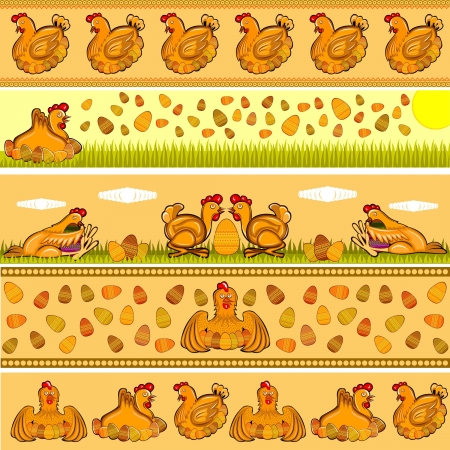 easter horizontal background with hen and egg Vettoriali