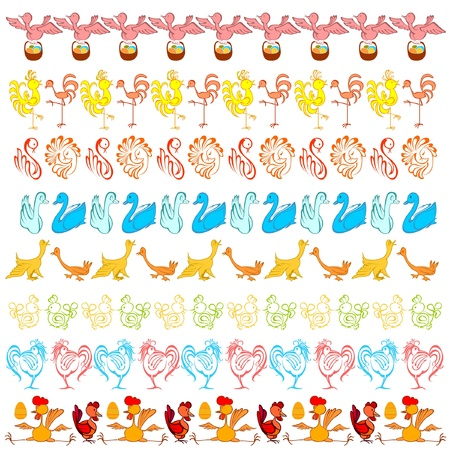 easter bird border edge abstract Vector