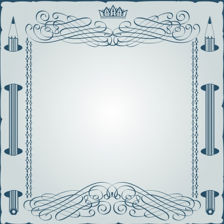 vintage background engraving frame with monogram and pencil