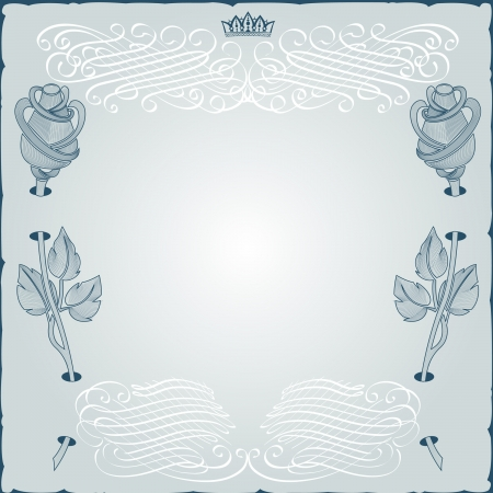 vintage engraving frame with monogram and rose