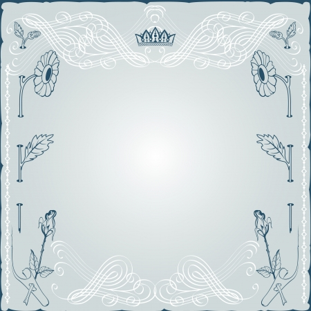 vintage background engraving frame with monogram and flower