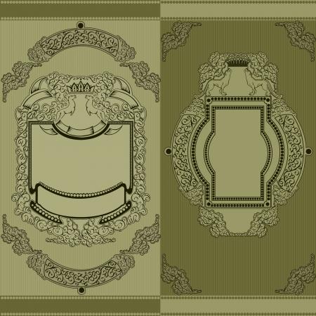 green royal heraldic luxury banner with animal Vettoriali