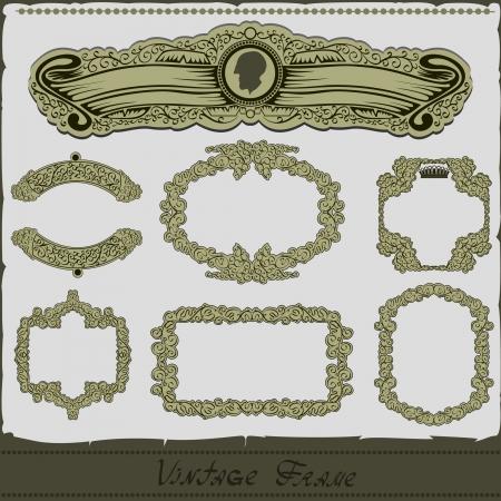 vintage royal frame set Vettoriali