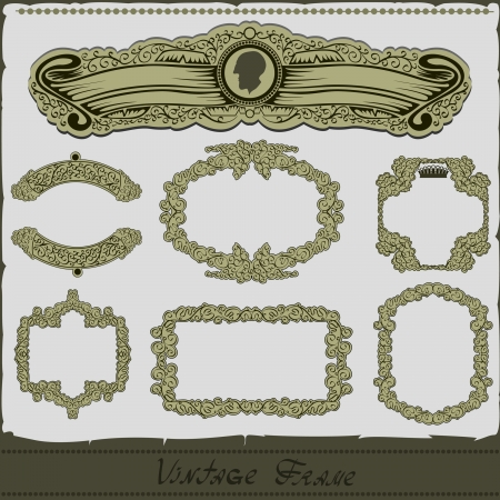 vintage royal frame set Illustration