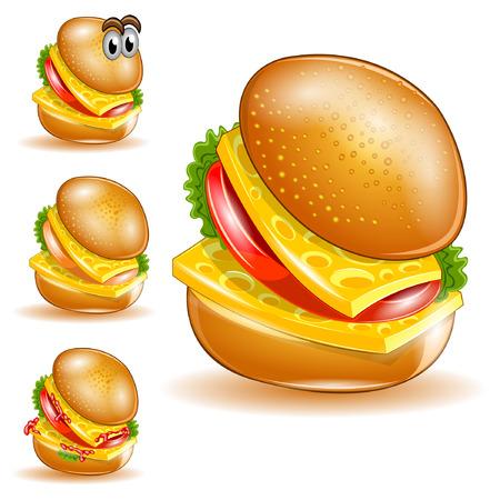 isolated cheeseburger set Vettoriali