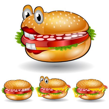 isolated cheeseburger humburger set