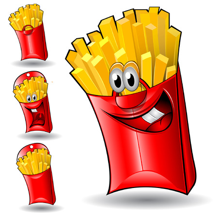 character isolated fried potatoes set Illustration