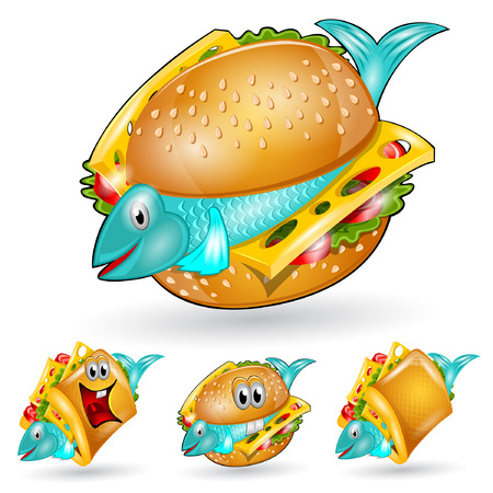 isolated fishburger sandwich character set