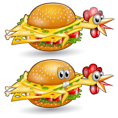 isolated chickenburger sandwich character set