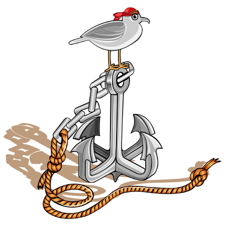 anchor with seagull cartoon icon