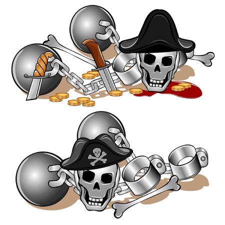 shackles skull pirate Illustration