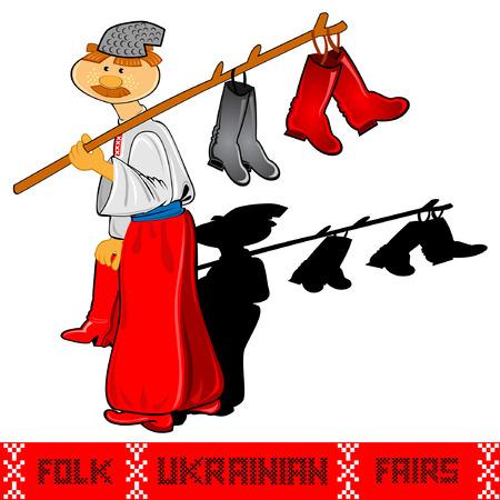shoemaker ukrainian folk rairs man with shoes craft