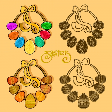 easter egg wreath set Illustration