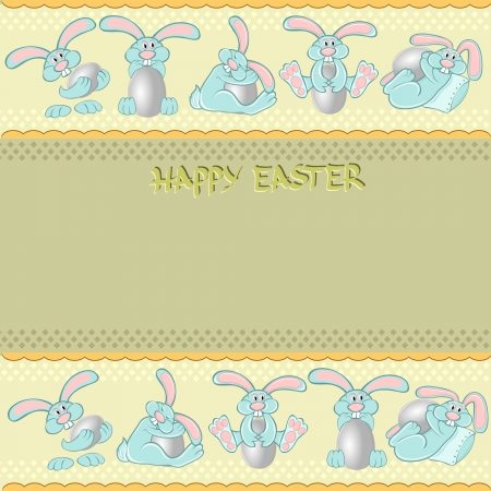 easter rabbit egg background Illustration
