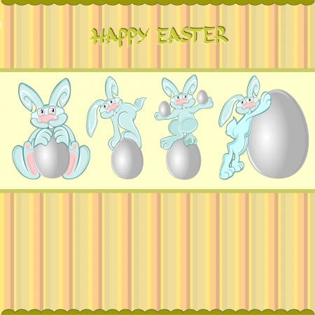 easter rabbit egg set background