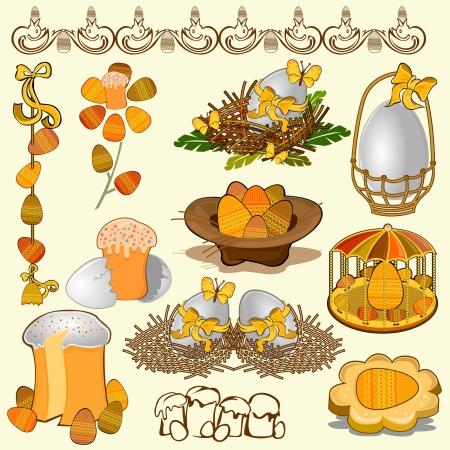 easter egg adn cake collection set Vettoriali