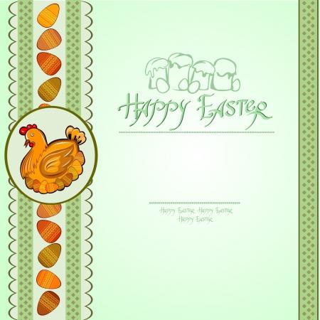 hen egg easter green background