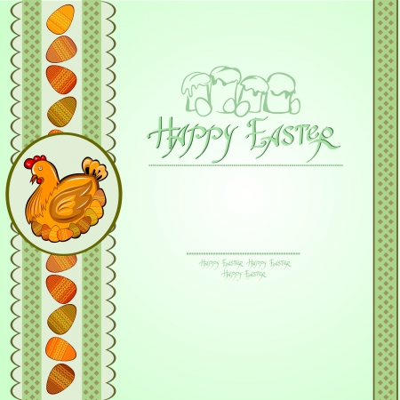 hen egg easter green background