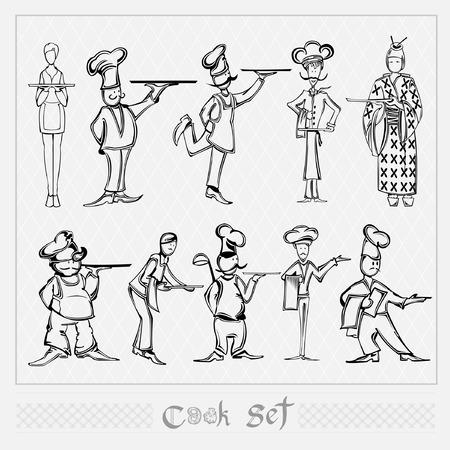 cook waiter set silhouette