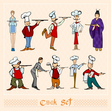 cook waiter set color