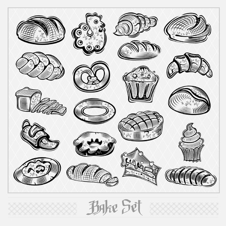 bakery set label collection Illustration