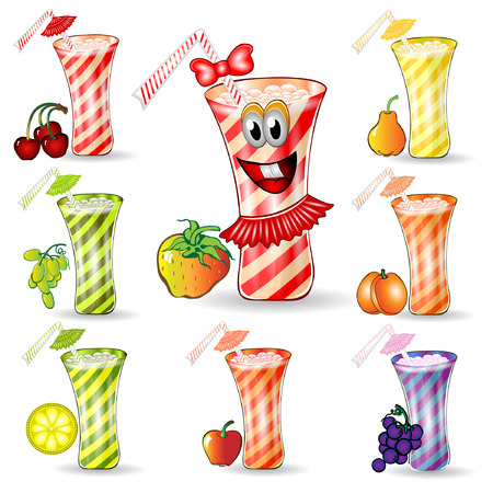 cocktail glass with fruit set