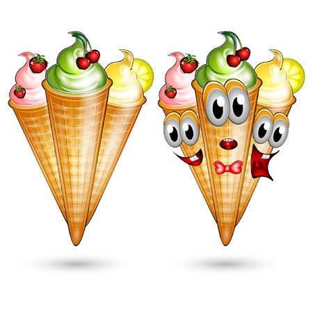 isolated fruit ice cream character