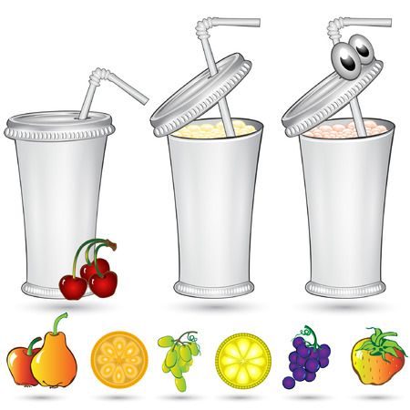 isolated white sample paper or plastic glass with different fruit
