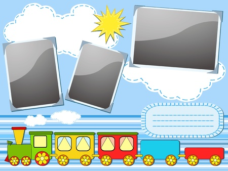 scrapbook frame: Baby train. Cheerful vector illustration.