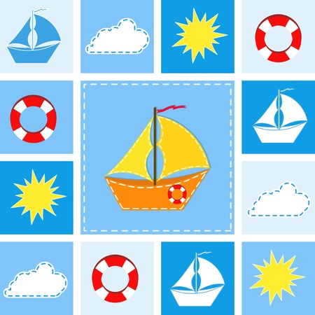 stria: Blue background with ship. Vector illustration.