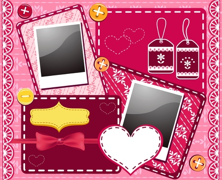 photo album page: Set for scrapbooking. Vector illustration. Illustration