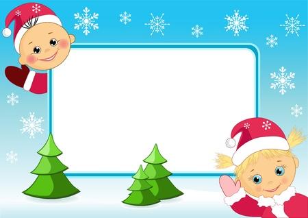 smiling child: Children`s photo frame. Vector illustration.