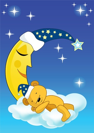 luna caricatura: El oso de peluche duerme. Ilustración vectorial. Vectores