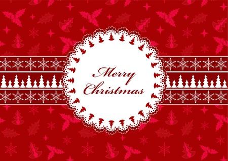 Red Christmas postcard. Vector illustration. Vector