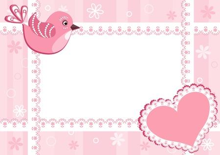 newborn baby girl: Baby photo frame with bird. Vector illustration.
