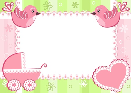 Baby photo frame with birds. Vector illustration. Vector