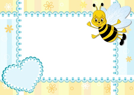 Baby photo frame with bee. Vector illustration. Vector