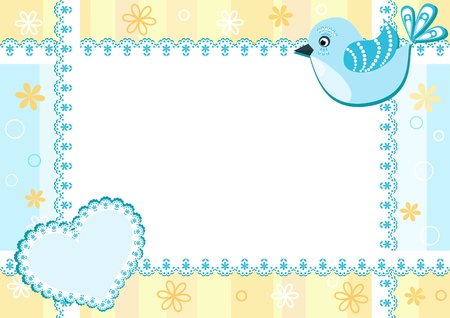 Baby photo frame with bird. Vector illustration. Vector