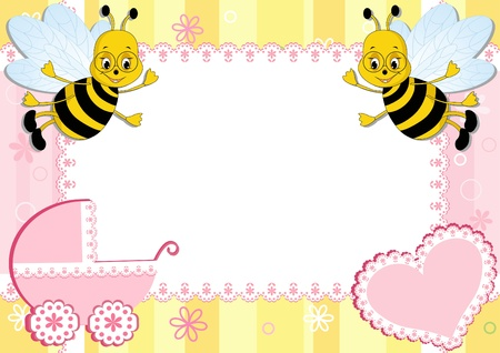 Baby photo frame with bee. Vector illustration. Illustration