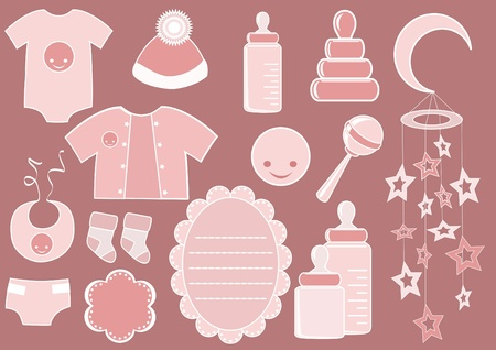 nappy: Baby set. Design element. Vector illustration.