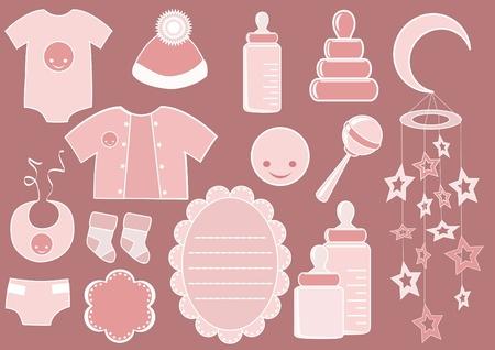 feeding bottle: Baby set. Design element. Vector illustration.