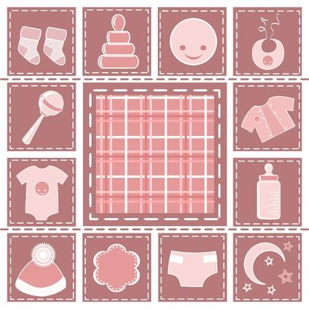 sonaja: Bebé colección. Elementos de diseño. Ilustración vectorial.