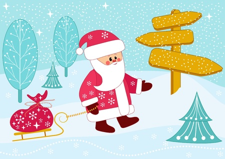 Santa carries a bag of gifts on sledge. Vector illustration. Vector