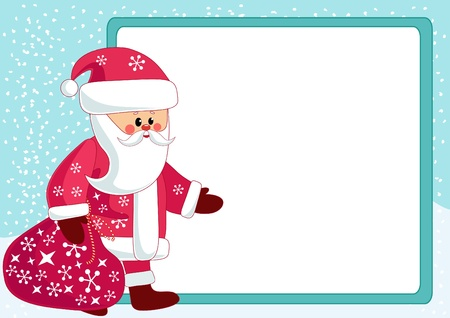 Santa and billboard. Vector illustration. Vector