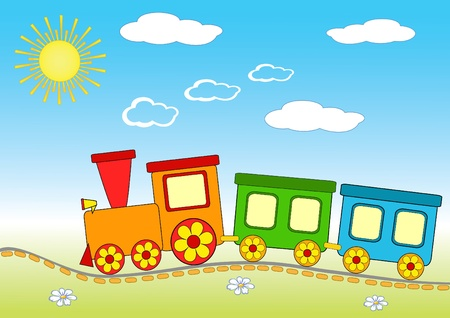baby playing toy: Baby train. Cheerful vector illustration.