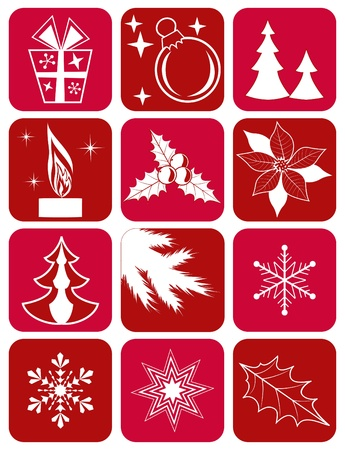 poinsettia: Set winter icons. Vector illustration.
