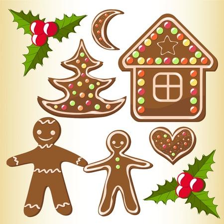 casita de dulces: Establecer las galletas de jengibre. Ilustración del vector.